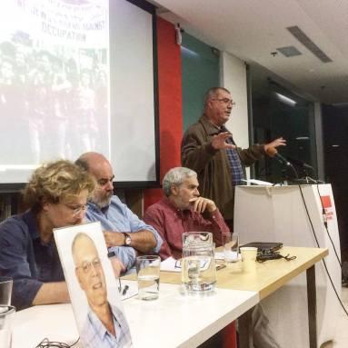 פאנל הדוברים בערב לזכרו של נעם קמינר (מימין לשמאל): מוחד ברכה, לב גרינברג, אפרים דוידי, תמר ברגר